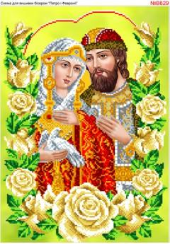 Схема вишивки бісером (хрестиком) Петро і Февронія в трояндах (B629)