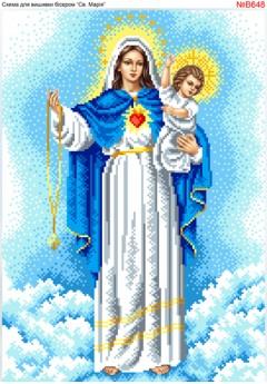 Схема вишивки бісером (хрестиком) Свята Марія (B648)