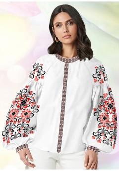 Жіноча сорочка, білий льон (В65)