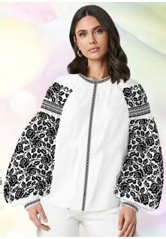 Жіноча сорочка, білий льон (В68)