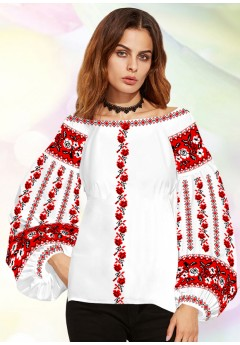Жіноча сорочка, білий льон (В69)