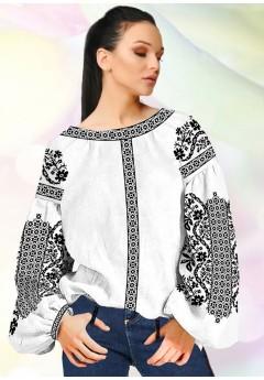 Жіноча сорочка, білий льон (B93)