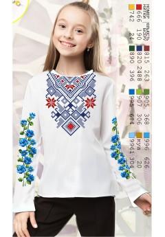 Заготовка для вишивки сорочки на дівчинку, габардин білий (Д116)